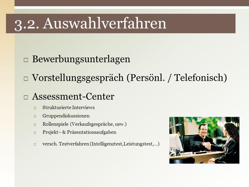 3.2. Auswahlverfahren Bewerbungsunterlagen Vorstellungsgespräch (Persönl. / Telefonisch) Assessment-Center Strukturierte Interviews Gruppendiskussione