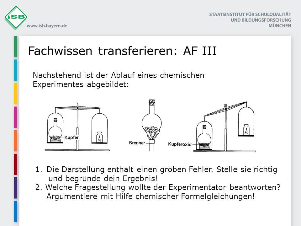 Fachwissen transferieren: AF III Nachstehend ist der Ablauf eines chemischen Experimentes abgebildet: 1.Die Darstellung enthält einen groben Fehler. S