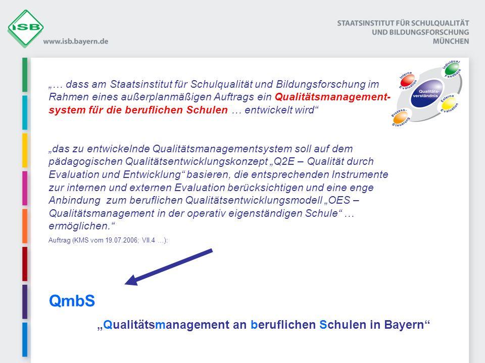 Exemplarische Entwicklungslinie Systematisches Qualitätsmanagement an beruflichen Schulen t Schulart- über- greifend Berufl.
