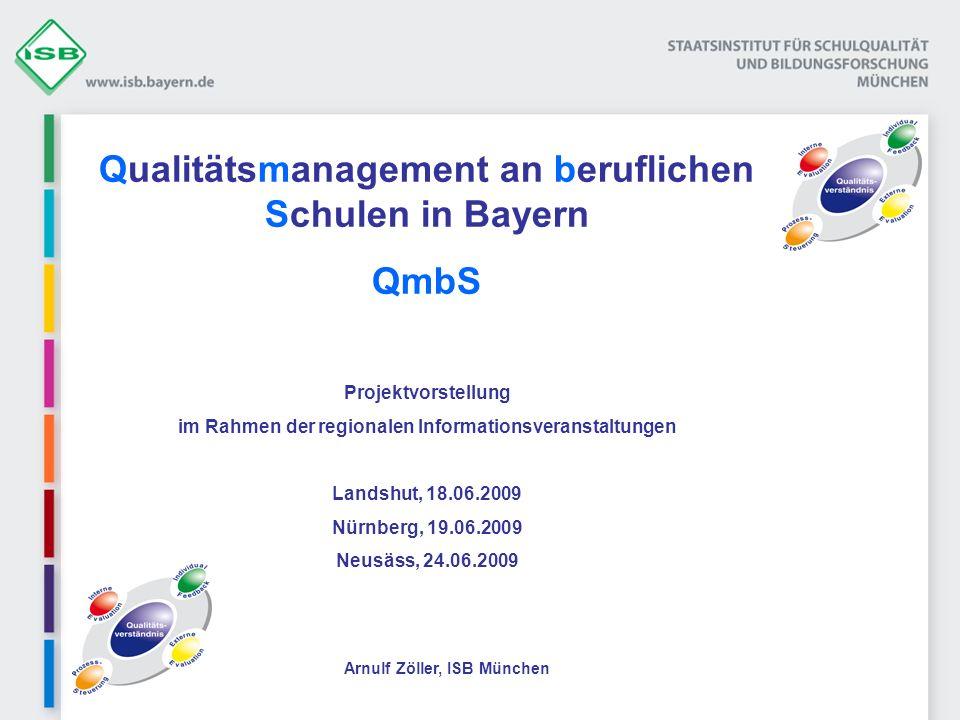Ein Blick über die bayerischen Grenzen Baden-Württemberg (OES) Bayern (QmbS) Bremen (Q2E) Hamburg (Q2E-basiert) Hessen (Q2E-basiert) Mecklenburg-Vorpommern (Q2E) Niedersachsen (EFQM) Rheinland-Pfalz (orientieren sich an QmbS) Saarland (ISO) Schleswig-Holstein (EVIT-BS) …?