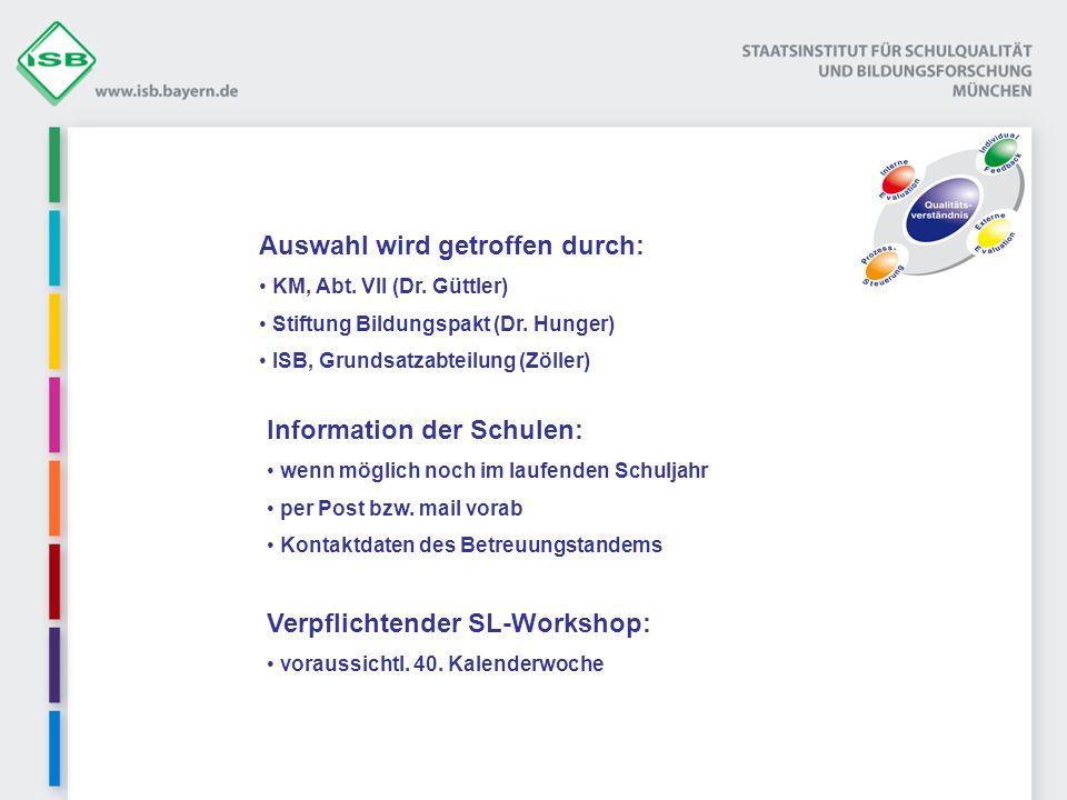 Auswahl wird getroffen durch: KM, Abt. VII (Dr. Güttler) Stiftung Bildungspakt (Dr. Hunger) ISB, Grundsatzabteilung (Zöller) Information der Schulen: