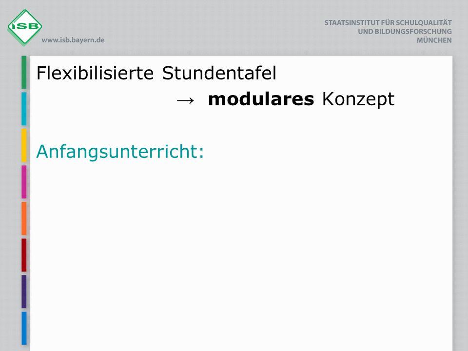 Flexibilisierte Stundentafel modulares Konzept Anfangsunterricht: