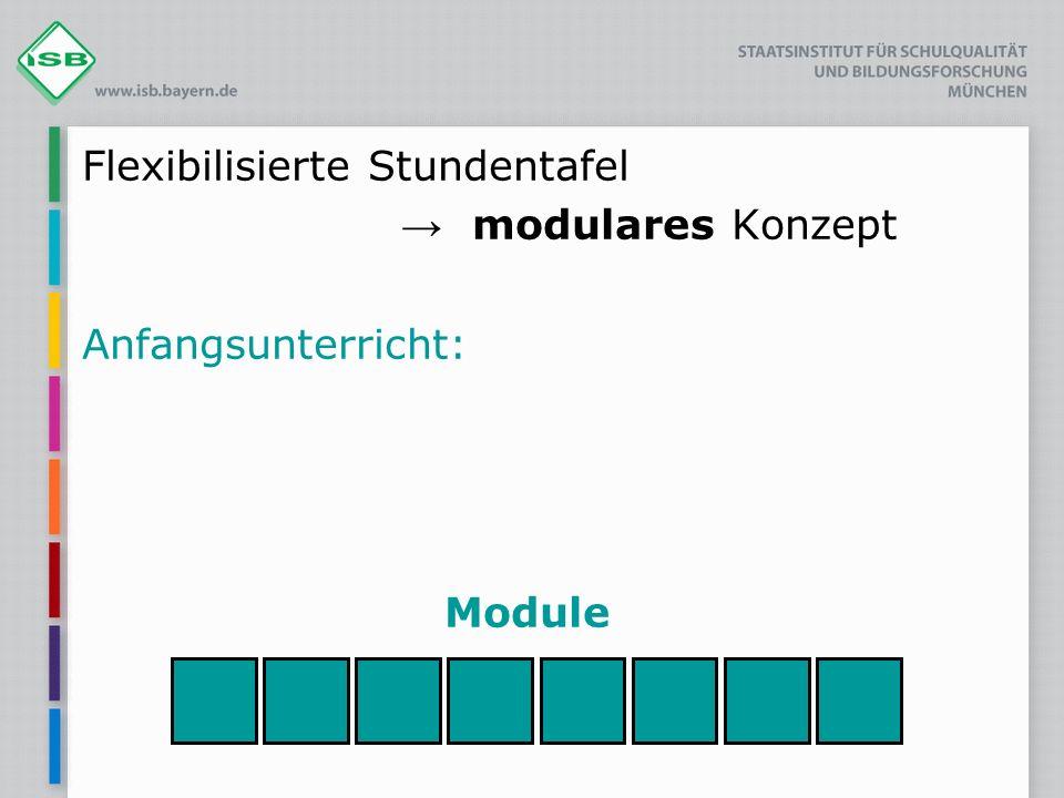 Flexibilisierte Stundentafel modulares Konzept Anfangsunterricht: Module
