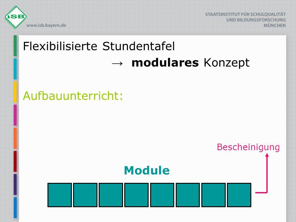 Flexibilisierte Stundentafel modulares Konzept Aufbauunterricht: Bescheinigung Module
