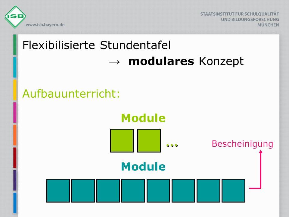 Flexibilisierte Stundentafel modulares Konzept Aufbauunterricht: Module Bescheinigung Module