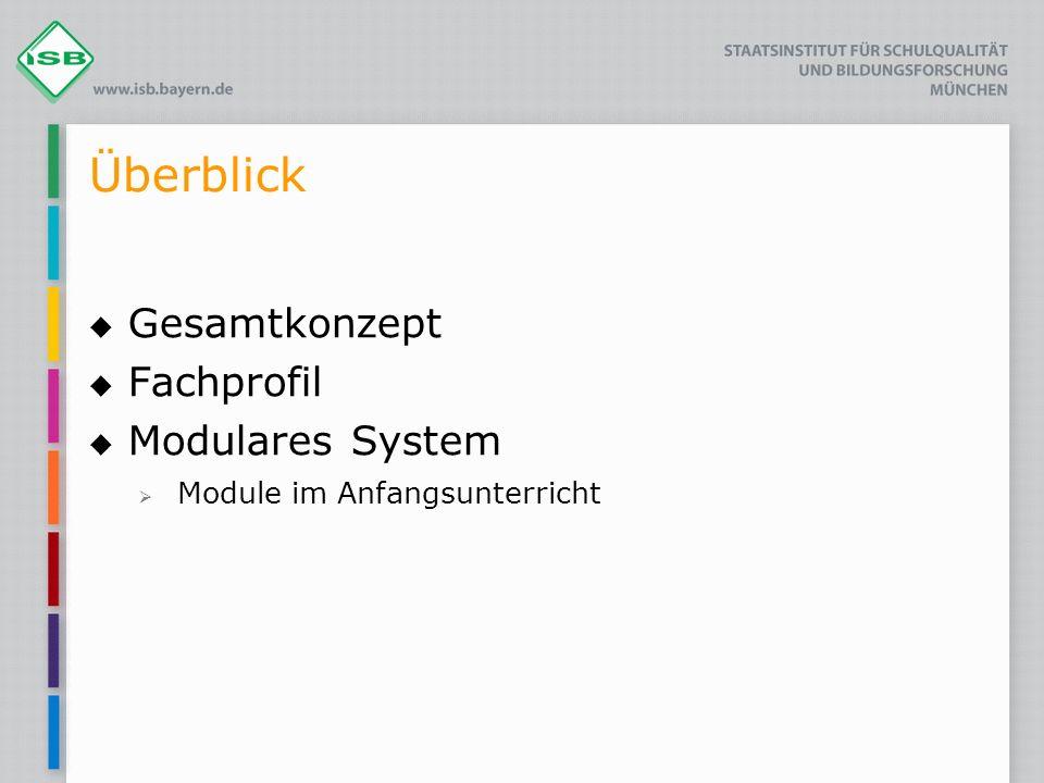 Überblick Gesamtkonzept Fachprofil Modulares System Module im Anfangsunterricht