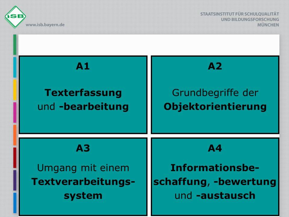 A1 Texterfassung und -bearbeitung A2 Grundbegriffe der Objektorientierung A3 Umgang mit einem Textverarbeitungs- system A4 Informationsbe- schaffung,
