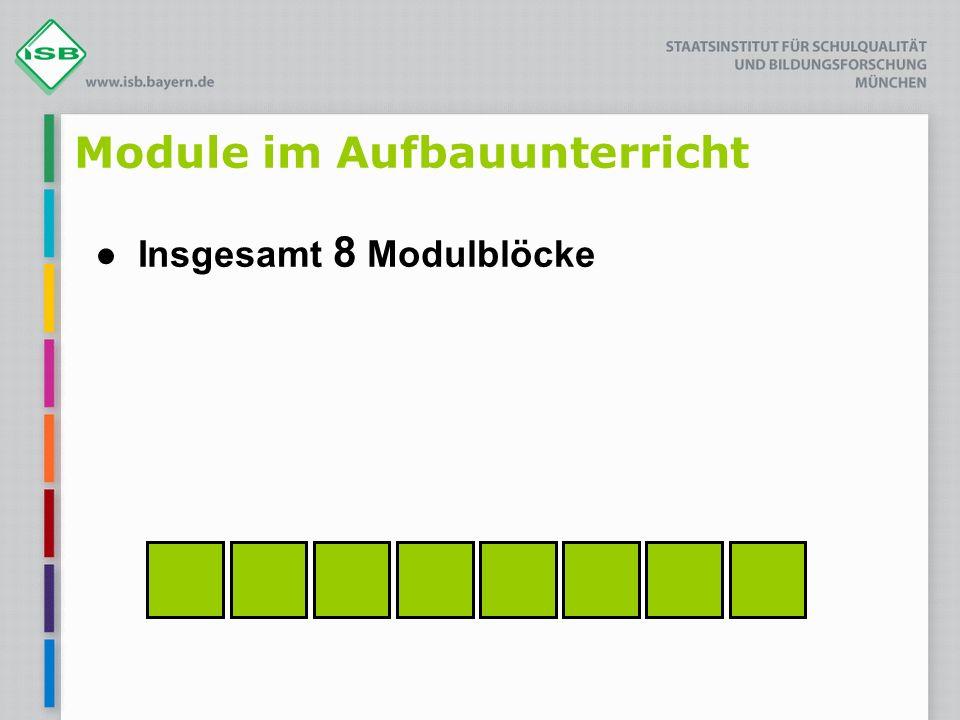Module im Aufbauunterricht Insgesamt 8 Modulblöcke