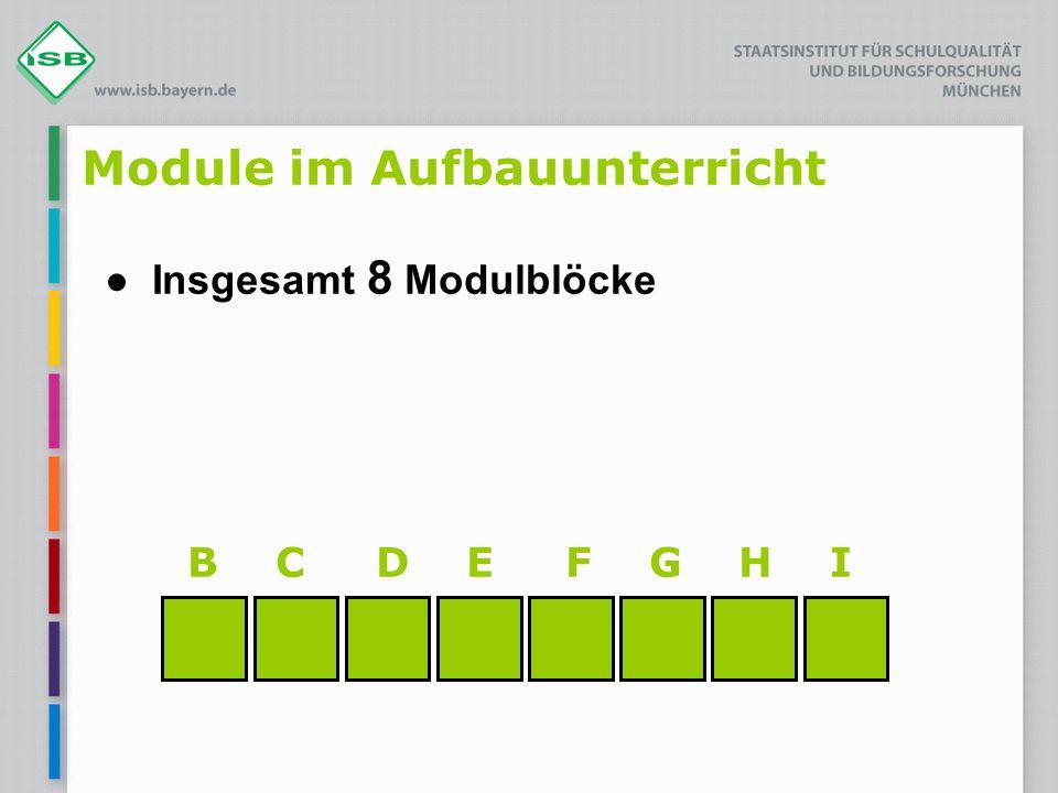 Module im Aufbauunterricht Insgesamt 8 Modulblöcke B C D E F G H I
