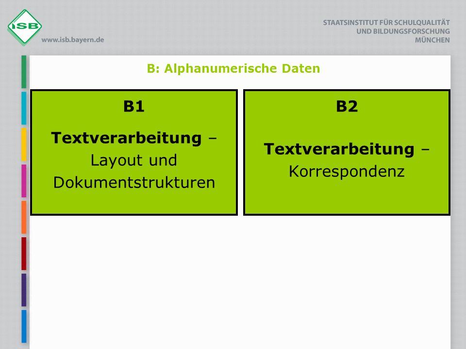 B: Alphanumerische Daten B1 Textverarbeitung – Layout und Dokumentstrukturen B2 Textverarbeitung – Korrespondenz