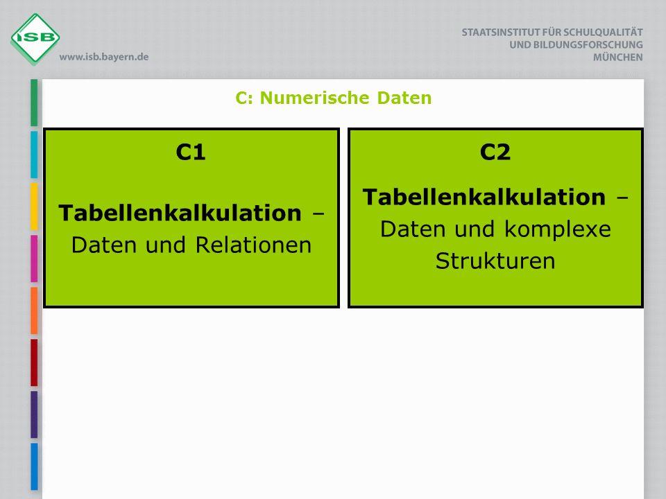 C: Numerische Daten C1 Tabellenkalkulation – Daten und Relationen C2 Tabellenkalkulation – Daten und komplexe Strukturen