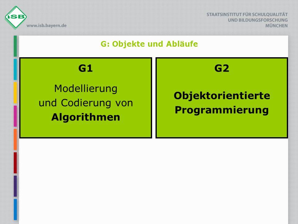G: Objekte und Abläufe G1 Modellierung und Codierung von Algorithmen G2 Objektorientierte Programmierung