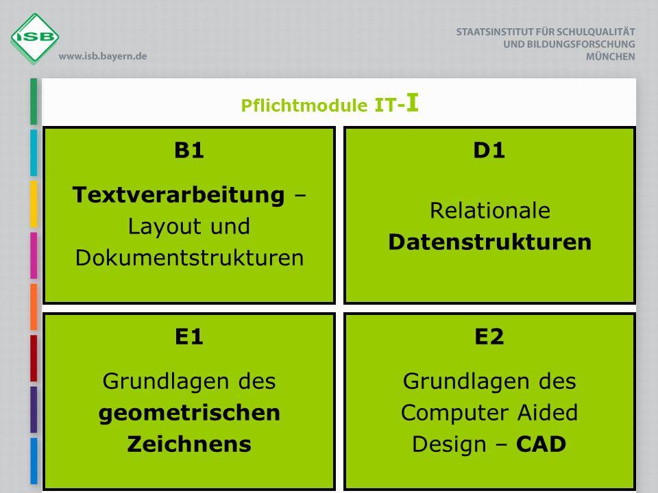 Pflichtmodule IT- I B1 Textverarbeitung – Layout und Dokumentstrukturen D1 Relationale Datenstrukturen E1 Grundlagen des geometrischen Zeichnens E2 Gr