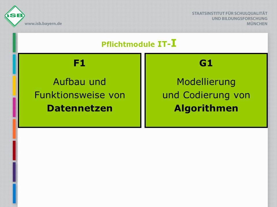 Pflichtmodule IT- I F1 Aufbau und Funktionsweise von Datennetzen G1 Modellierung und Codierung von Algorithmen