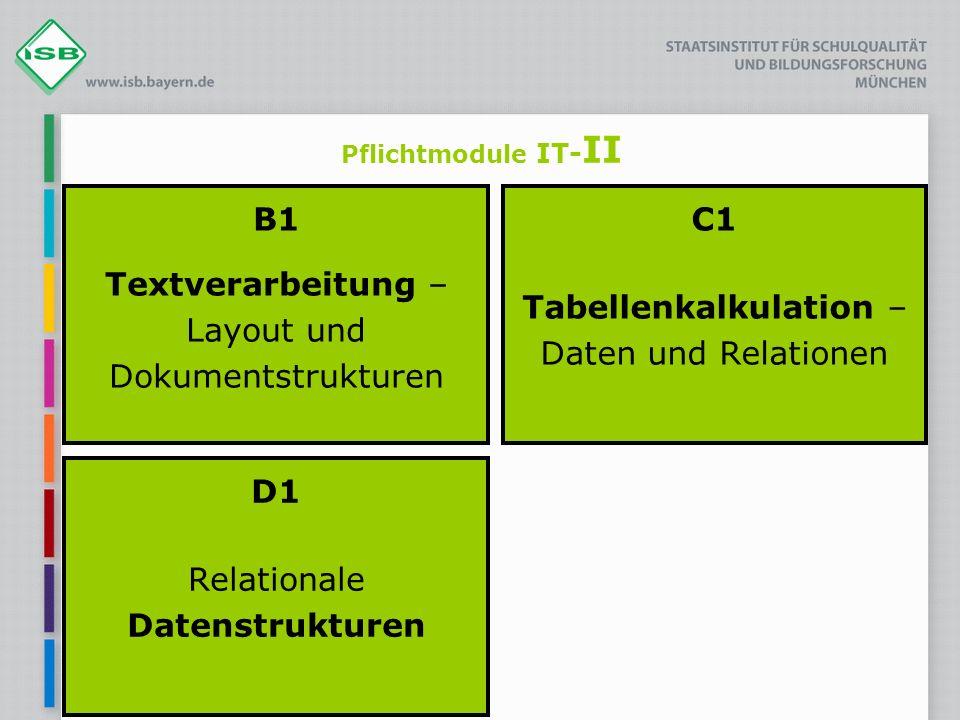 Pflichtmodule IT- II B1 Textverarbeitung – Layout und Dokumentstrukturen C1 Tabellenkalkulation – Daten und Relationen D1 Relationale Datenstrukturen