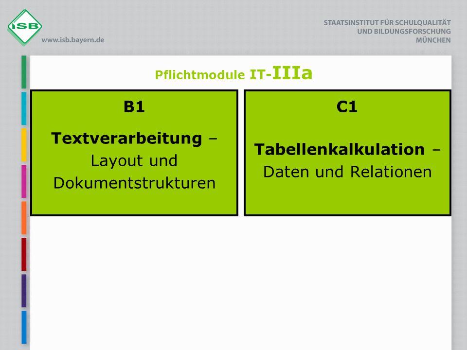 Pflichtmodule IT- IIIa B1 Textverarbeitung – Layout und Dokumentstrukturen C1 Tabellenkalkulation – Daten und Relationen