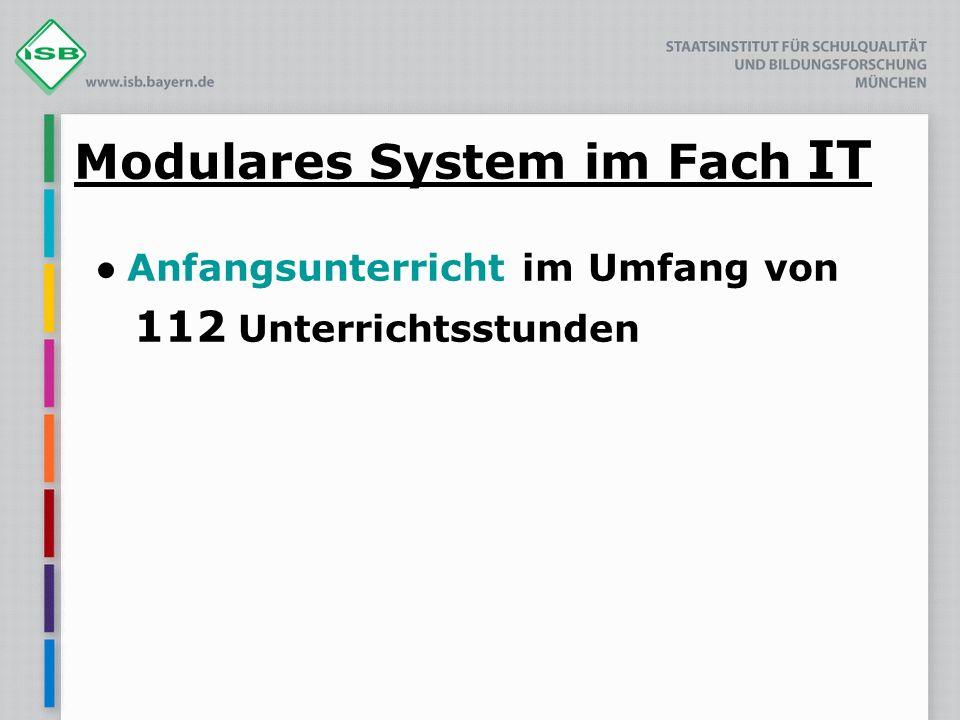 Modulares System im Fach IT Anfangsunterricht im Umfang von 112 Unterrichtsstunden