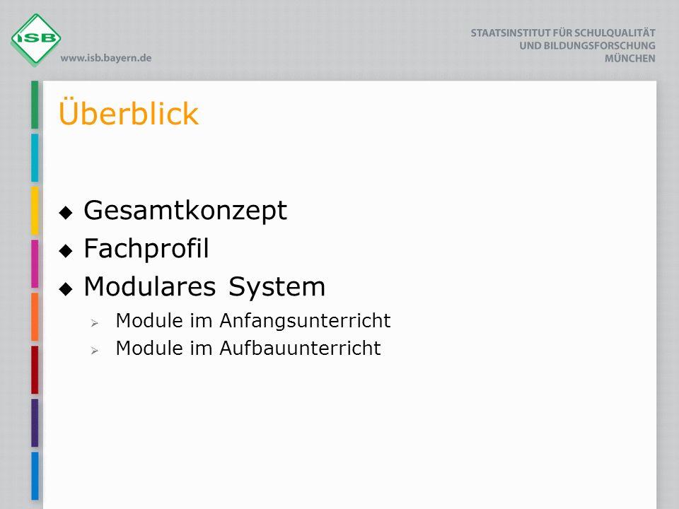 Überblick Gesamtkonzept Fachprofil Modulares System Module im Anfangsunterricht Module im Aufbauunterricht