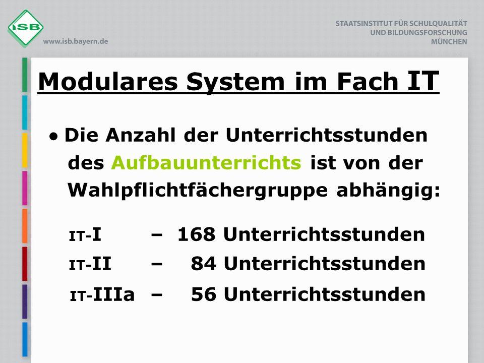 Modulares System im Fach IT Die Anzahl der Unterrichtsstunden des Aufbauunterrichts ist von der Wahlpflichtfächergruppe abhängig: IT- I – 168 Unterric