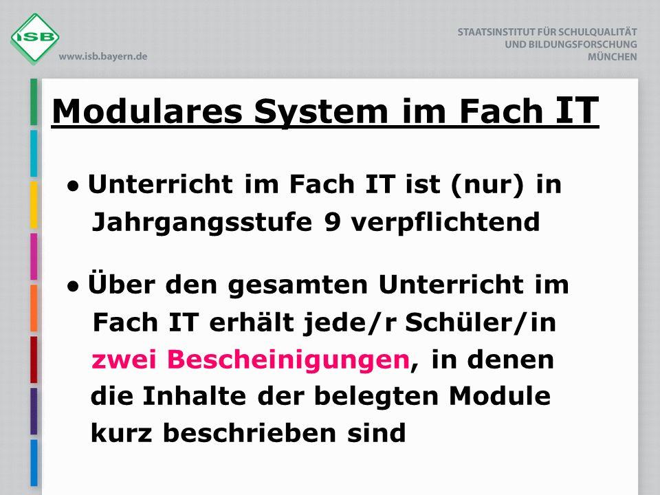 Modulares System im Fach IT Unterricht im Fach IT ist (nur) in Jahrgangsstufe 9 verpflichtend Über den gesamten Unterricht im Fach IT erhält jede/r Sc