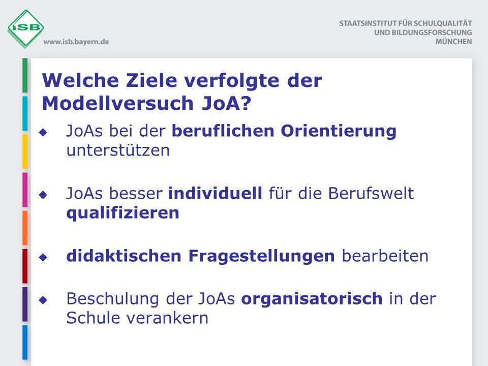 Welche Ziele verfolgte der Modellversuch JoA? JoAs bei der beruflichen Orientierung unterstützen JoAs besser individuell für die Berufswelt qualifizie