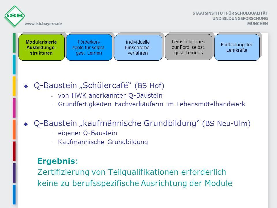 Q-Baustein Schülercafé (BS Hof) - von HWK anerkannter Q-Baustein - Grundfertigkeiten Fachverkäuferin im Lebensmittelhandwerk Q-Baustein kaufmännische