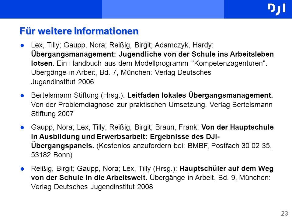 23 l Lex, Tilly; Gaupp, Nora; Reißig, Birgit; Adamczyk, Hardy: Übergangsmanagement: Jugendliche von der Schule ins Arbeitsleben lotsen. Ein Handbuch a