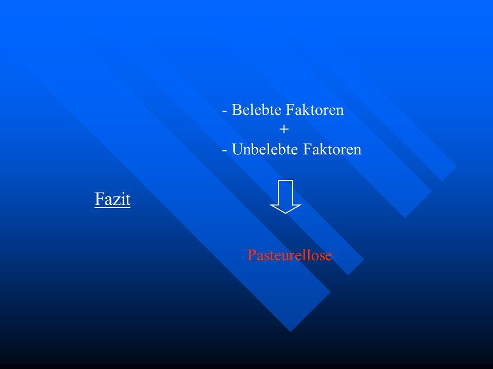 Fazit - Belebte Faktoren + - Unbelebte Faktoren Pasteurellose