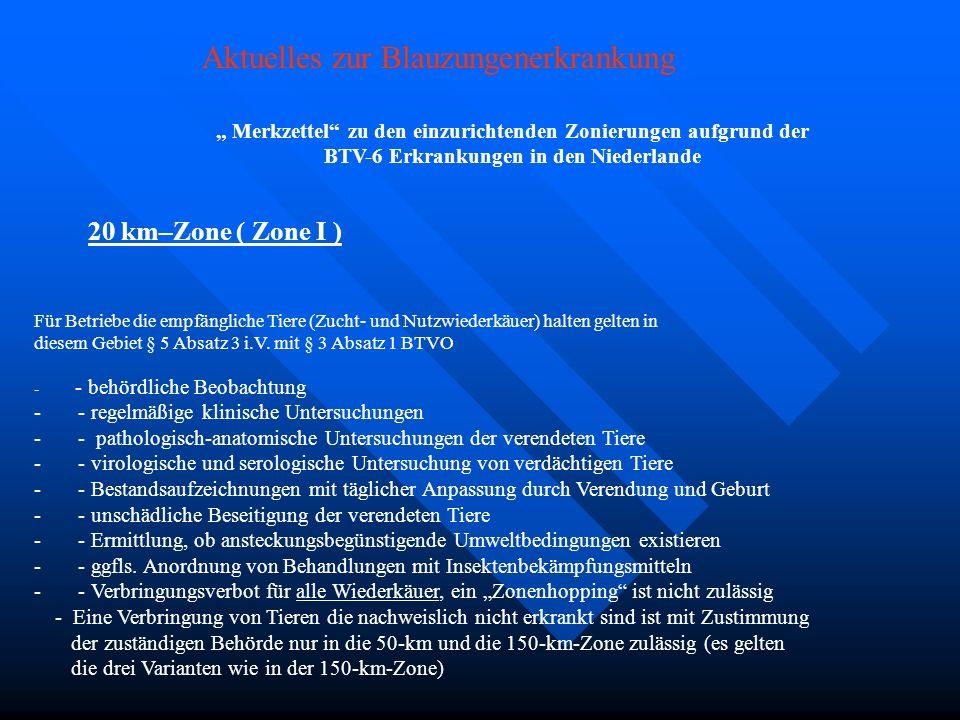 Merkzettel zu den einzurichtenden Zonierungen aufgrund der BTV-6 Erkrankungen in den Niederlande Für 20 km–Zone ( Zone I ) Für Betriebe die empfänglic