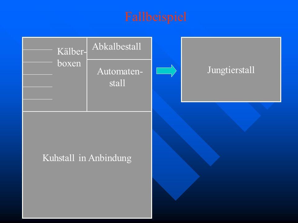 Kuhstall in Anbindung Jungtierstall Automaten- stall Abkalbestall Kälber- boxen Fallbeispiel