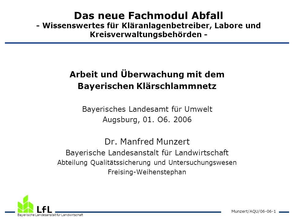 Bayerische Landesanstalt für Landwirtschaft Munzert/AQU/06-06-1 Das neue Fachmodul Abfall - Wissenswertes für Kläranlagenbetreiber, Labore und Kreisve