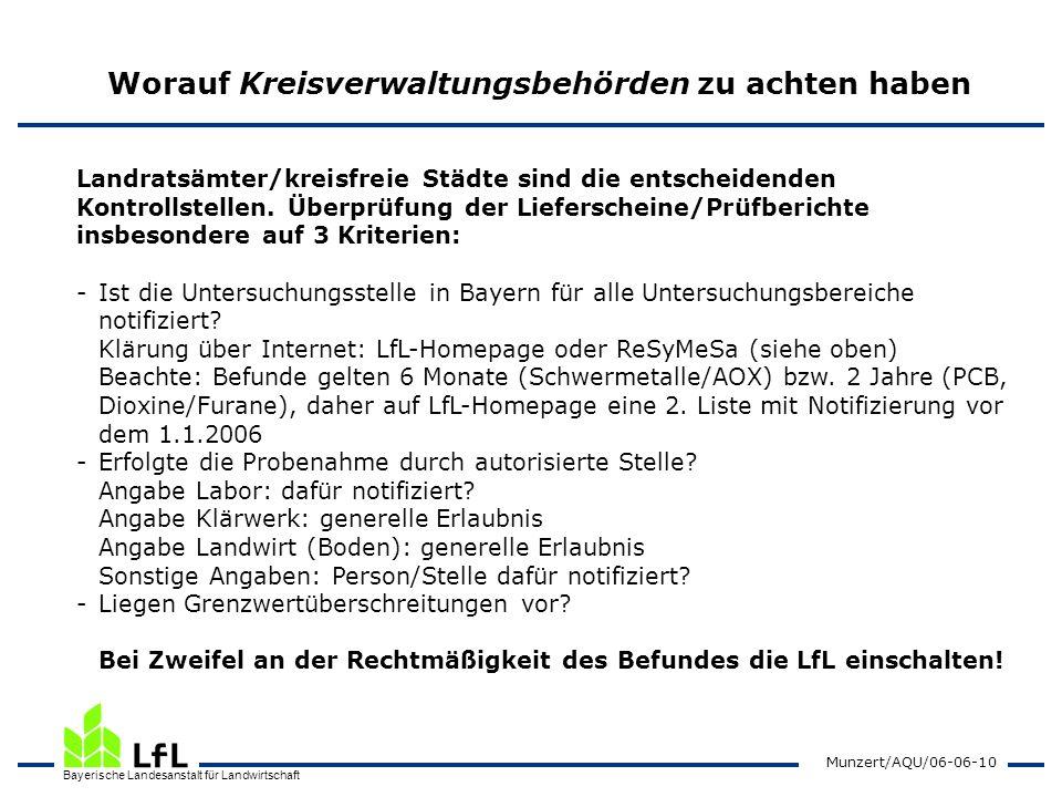 Bayerische Landesanstalt für Landwirtschaft Munzert/AQU/06-06-10 Worauf Kreisverwaltungsbehörden zu achten haben Landratsämter/kreisfreie Städte sind