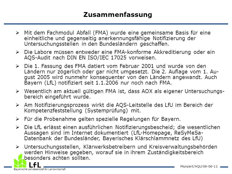 Bayerische Landesanstalt für Landwirtschaft Munzert/AQU/06-06-11 Zusammenfassung Mit dem Fachmodul Abfall (FMA) wurde eine gemeinsame Basis für eine e