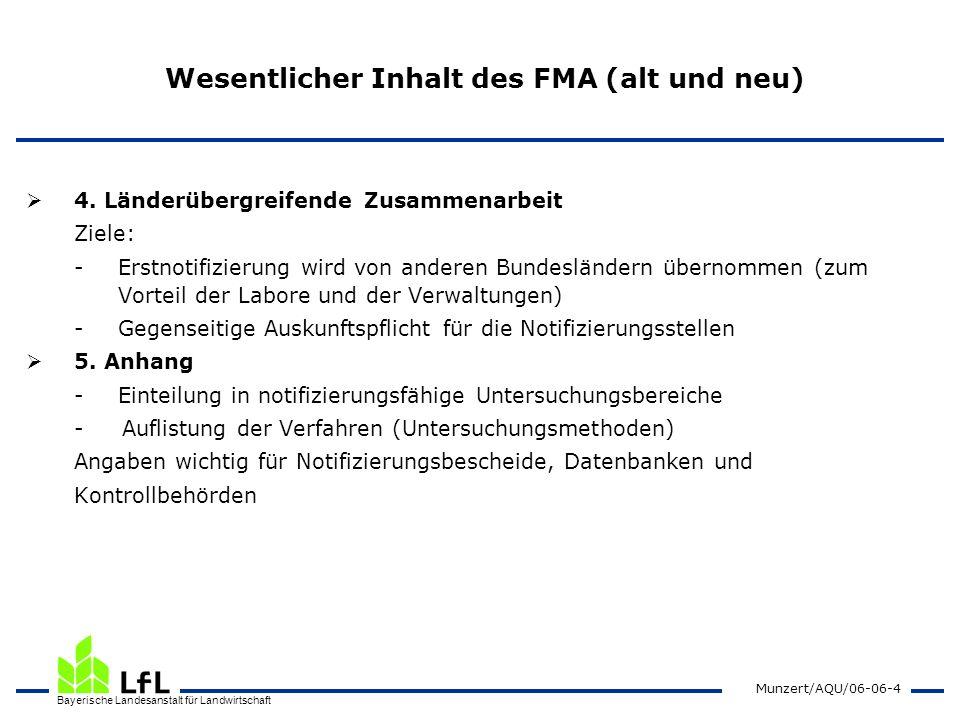 Bayerische Landesanstalt für Landwirtschaft Munzert/AQU/06-06-5 Neuerungen beim FMA Gültig auch für Deponie- und Altholzverordnung bisher: Klärschlamm-, Bioabfall- und Altölverordnung Mindestzahl von 3 Mitarbeitern (inkl.