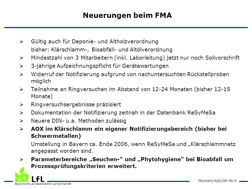 Bayerische Landesanstalt für Landwirtschaft Munzert/AQU/06-06-5 Neuerungen beim FMA Gültig auch für Deponie- und Altholzverordnung bisher: Klärschlamm