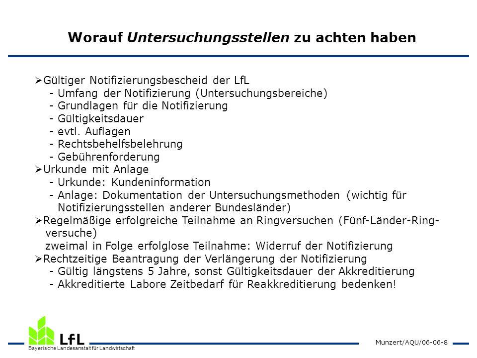 Bayerische Landesanstalt für Landwirtschaft Munzert/AQU/06-06-8 Worauf Untersuchungsstellen zu achten haben Gültiger Notifizierungsbescheid der LfL -
