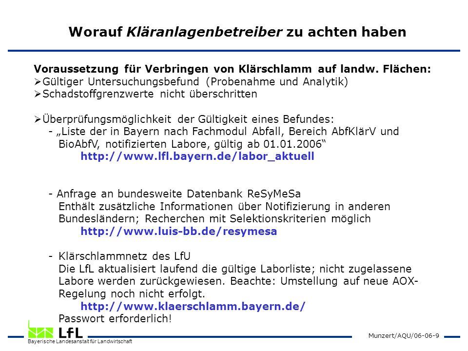 Bayerische Landesanstalt für Landwirtschaft Munzert/AQU/06-06-9 Worauf Kläranlagenbetreiber zu achten haben Voraussetzung für Verbringen von Klärschla