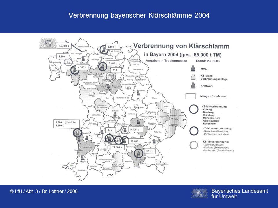 © LfU / Abt. 3 / Dr. Lottner / 2006 Verbrennung bayerischer Klärschlämme 2004