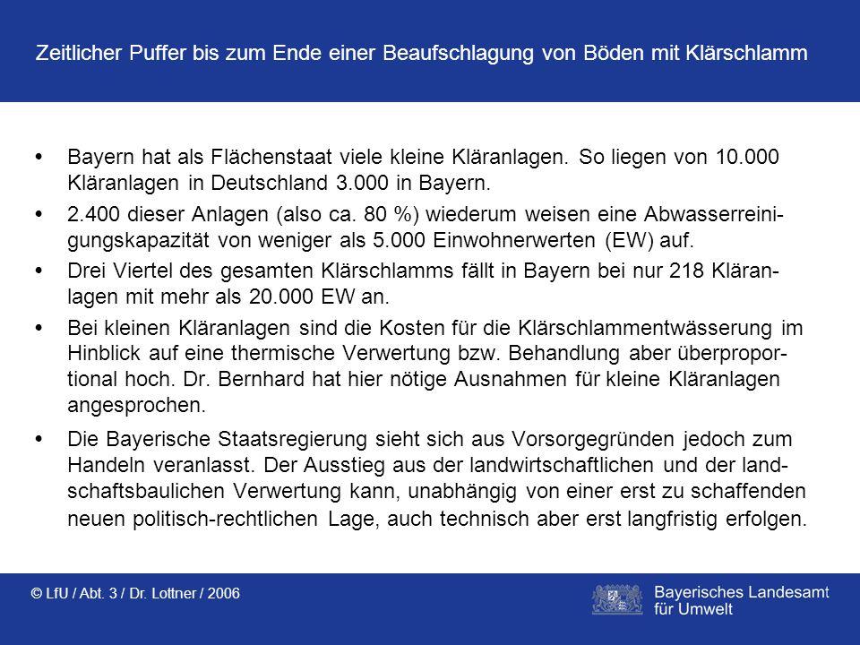 © LfU / Abt. 3 / Dr. Lottner / 2006 Zeitlicher Puffer bis zum Ende einer Beaufschlagung von Böden mit Klärschlamm Bayern hat als Flächenstaat viele kl