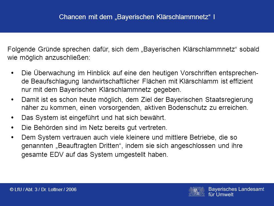 © LfU / Abt. 3 / Dr. Lottner / 2006 Chancen mit dem Bayerischen Klärschlammnetz I Die Überwachung im Hinblick auf eine den heutigen Vorschriften entsp