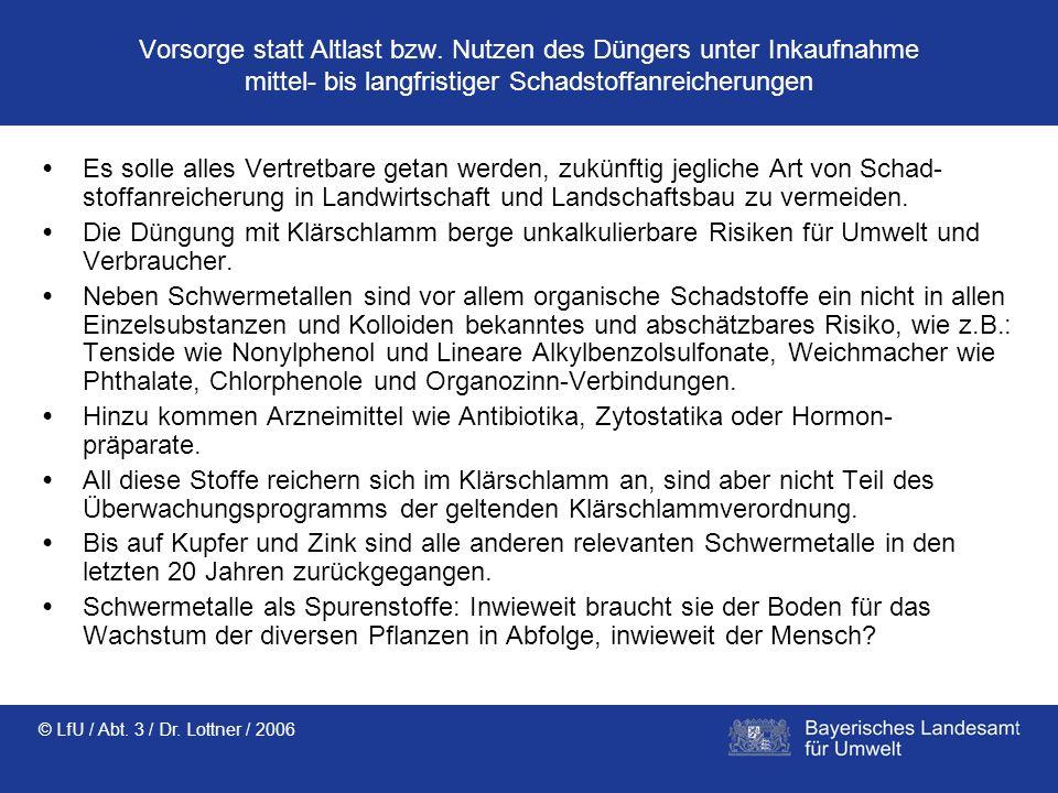 © LfU / Abt. 3 / Dr. Lottner / 2006 Vorsorge statt Altlast bzw. Nutzen des Düngers unter Inkaufnahme mittel- bis langfristiger Schadstoffanreicherunge