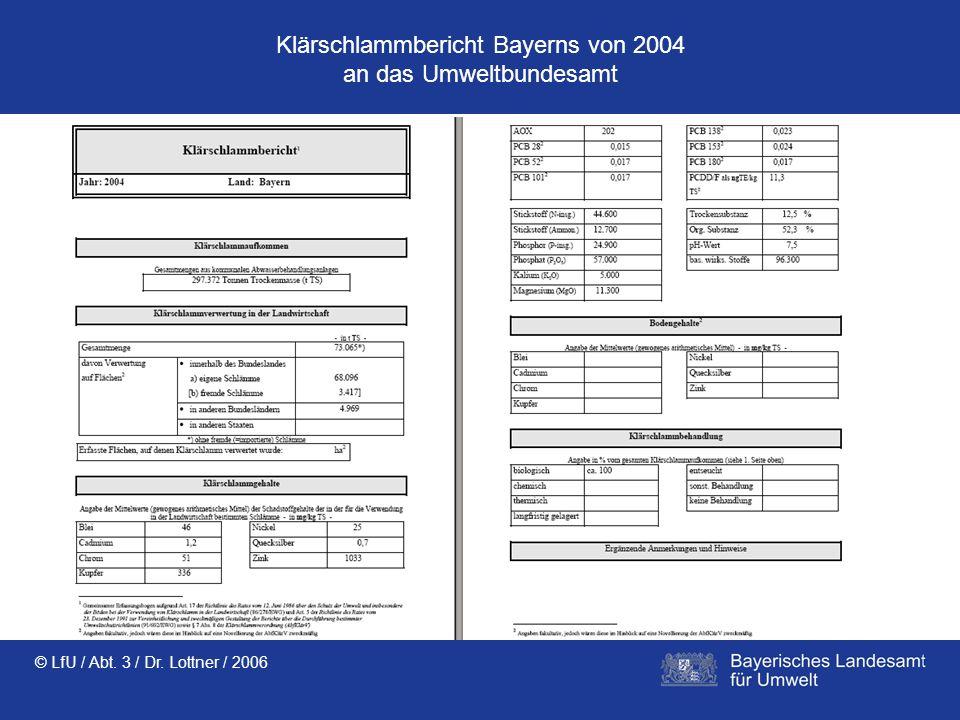© LfU / Abt. 3 / Dr. Lottner / 2006 Klärschlammbericht Bayerns von 2004 an das Umweltbundesamt