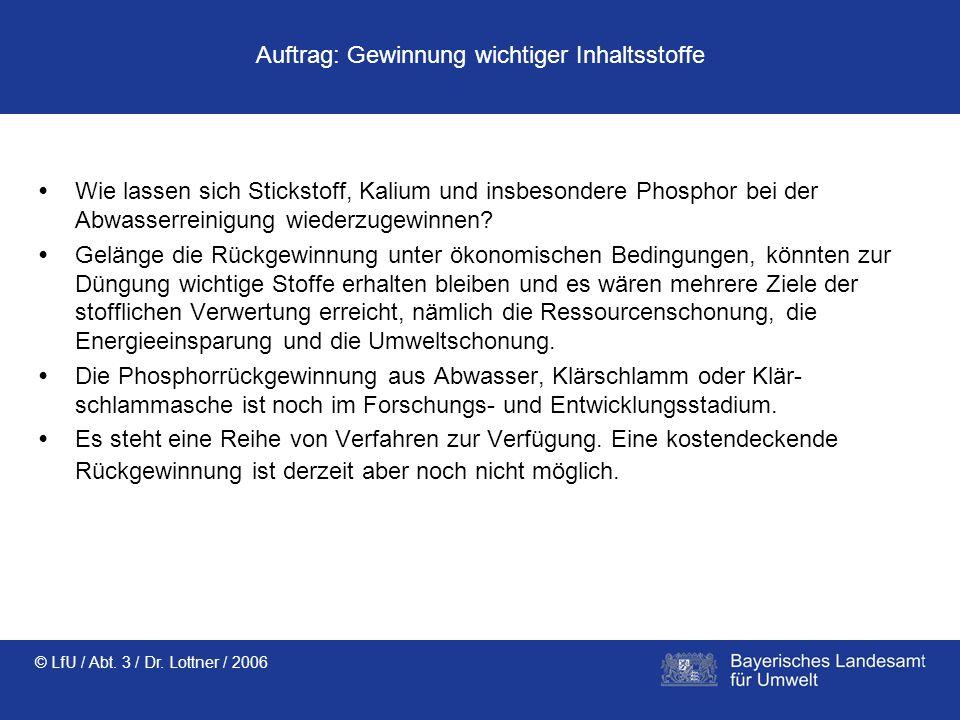 © LfU / Abt. 3 / Dr. Lottner / 2006 Auftrag: Gewinnung wichtiger Inhaltsstoffe Wie lassen sich Stickstoff, Kalium und insbesondere Phosphor bei der Ab