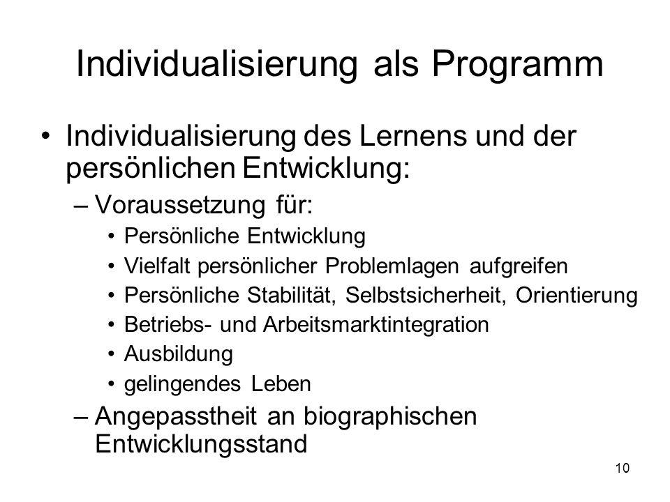 10 Individualisierung als Programm Individualisierung des Lernens und der persönlichen Entwicklung: –Voraussetzung für: Persönliche Entwicklung Vielfa