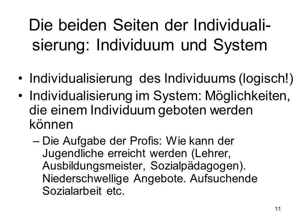 11 Die beiden Seiten der Individuali- sierung: Individuum und System Individualisierung des Individuums (logisch!) Individualisierung im System: Möglichkeiten, die einem Individuum geboten werden können –Die Aufgabe der Profis: Wie kann der Jugendliche erreicht werden (Lehrer, Ausbildungsmeister, Sozialpädagogen).