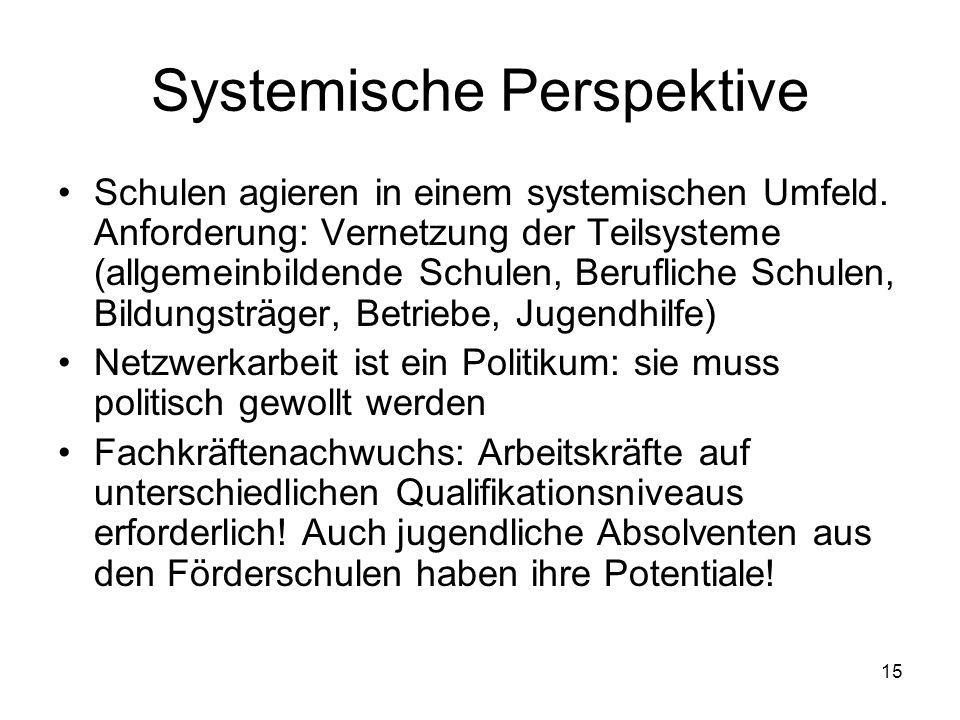 15 Systemische Perspektive Schulen agieren in einem systemischen Umfeld. Anforderung: Vernetzung der Teilsysteme (allgemeinbildende Schulen, Beruflich