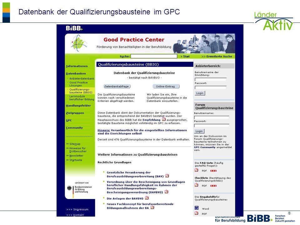 ® Datenbank der Qualifizierungsbausteine im GPC