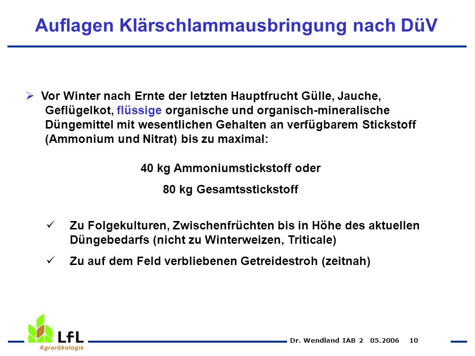 Dr. Wendland IAB 2 05.2006 10 Auflagen Klärschlammausbringung nach DüV Vor Winter nach Ernte der letzten Hauptfrucht Gülle, Jauche, Geflügelkot, flüss