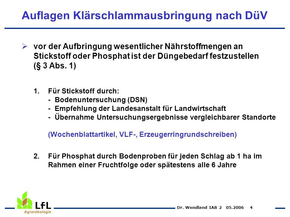 Dr. Wendland IAB 2 05.2006 4 Auflagen Klärschlammausbringung nach DüV vor der Aufbringung wesentlicher Nährstoffmengen an Stickstoff oder Phosphat ist