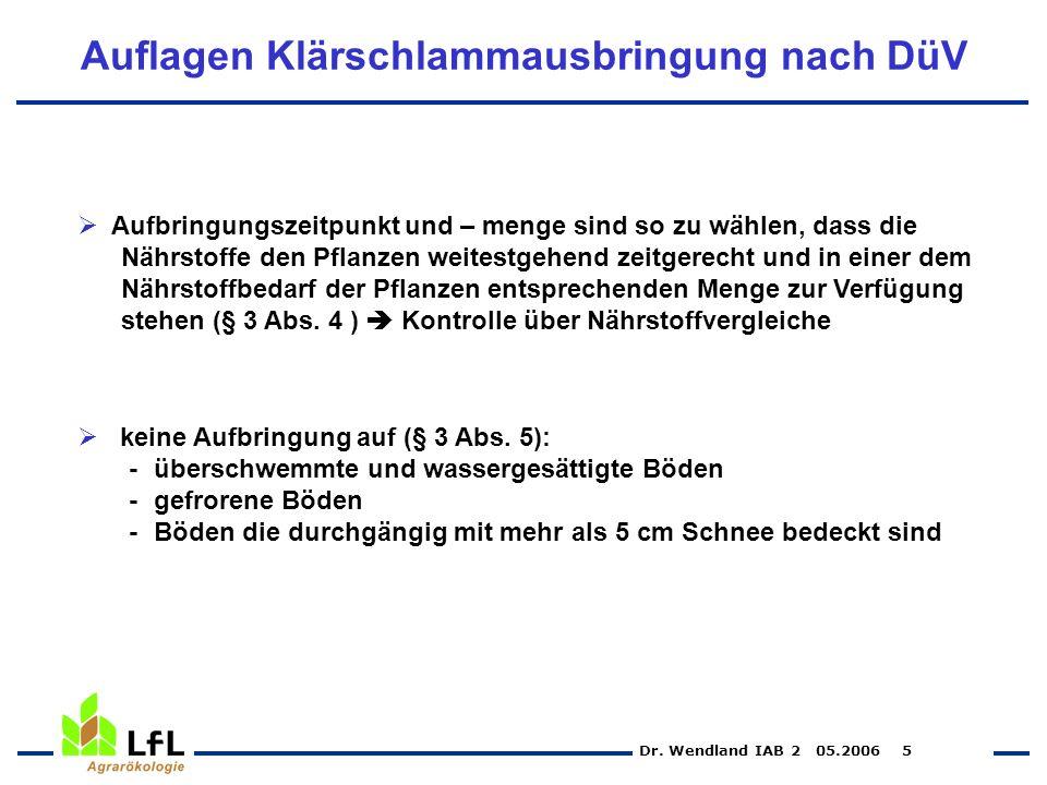 Dr. Wendland IAB 2 05.2006 5 Auflagen Klärschlammausbringung nach DüV Aufbringungszeitpunkt und – menge sind so zu wählen, dass die Nährstoffe den Pfl